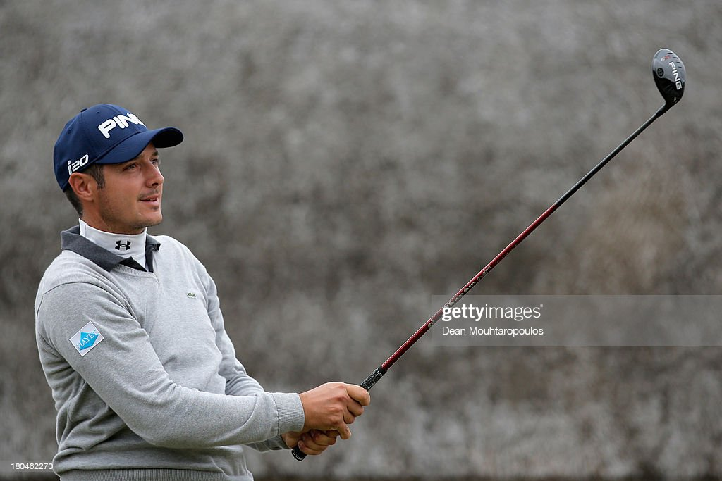 Julien Quesne of France hits his tee shot on the 1st hole during Day 2 of the KLM Open at Kennemer G & CC on September 13, 2013 in Zandvoort, Netherlands.