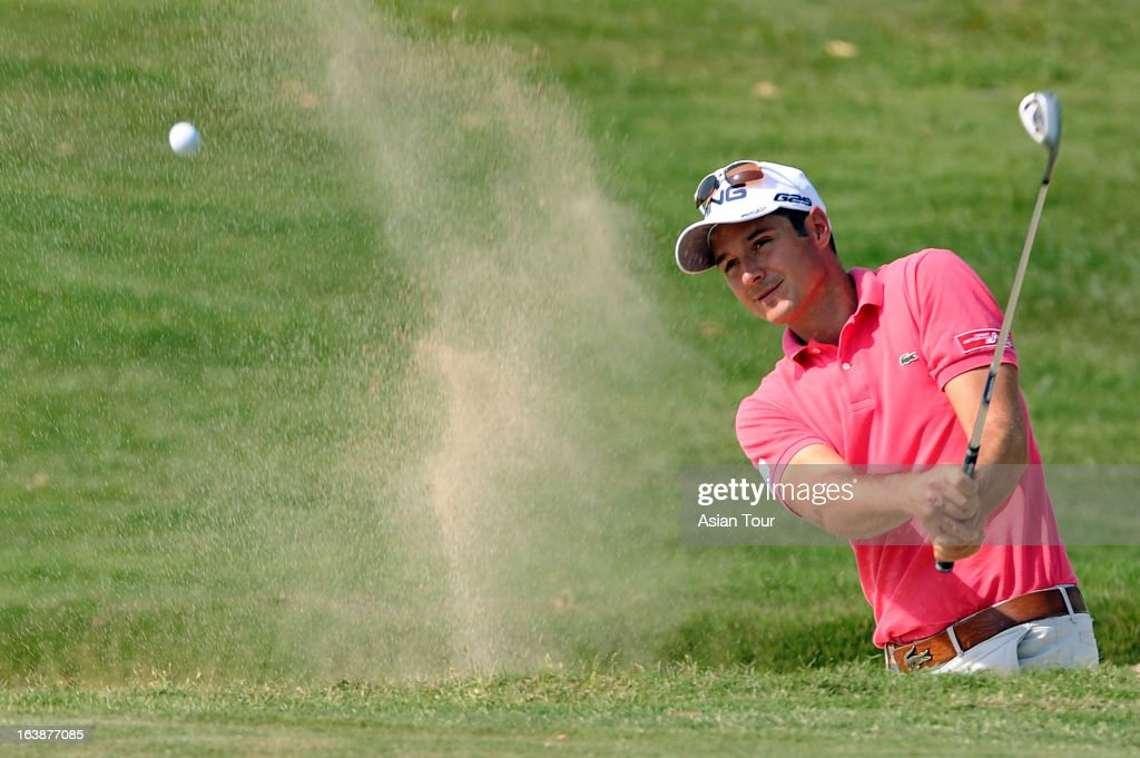 Julien Quesne of France in action during day 4 of the Avantha Masters at Jaypee Greens Golf Course on March 17 2013 in Noida India