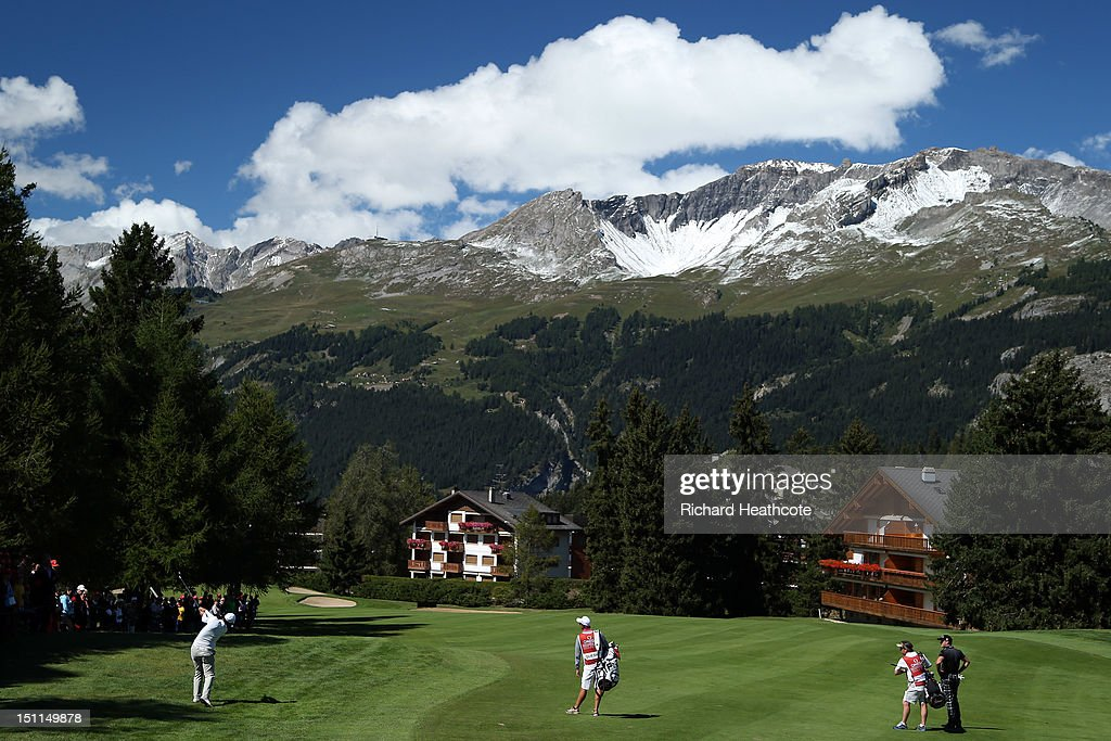 Julien Quesne of France in action during the final round of the Omega European Masters at Crans-sur-Sierre Golf Club on September 2, 2012 in Crans, Switzerland.
