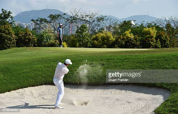 Julien Quesne of France plays a shot during the second round of the Shenzhen International at Genzon Golf Club on April 17 2015 in Shenzhen China