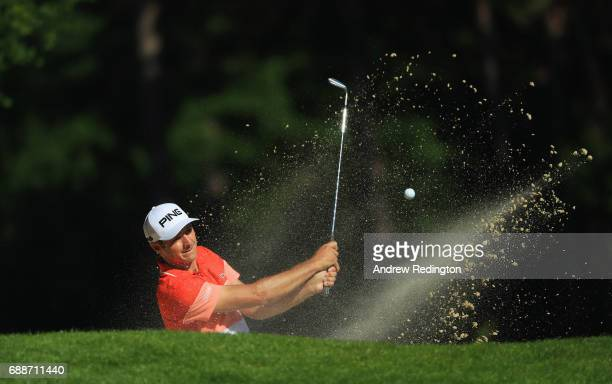 Julien Quesne of France plays from a bunker on the 6th hole during day two of the BMW PGA Championship at Wentworth on May 26 2017 in Virginia Water...
