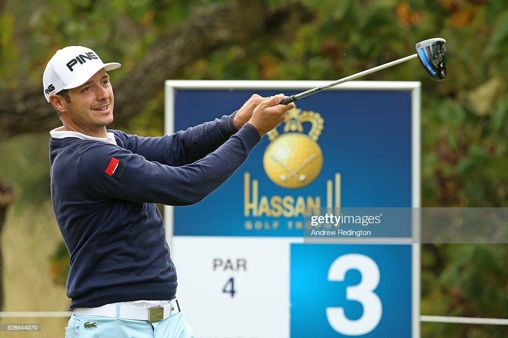 <a gi-track='captionPersonalityLinkClicked' href=/galleries/search?phrase=Julien+Quesne&family=editorial&specificpeople=2142965 ng-click='$event.stopPropagation()'>Julien Quesne</a> of France plays his tee shot on the third hole during the second round of the Trophee Hassan II at Royal Golf Dar Es Salam on May 6, 2016 in Rabat, Morocco.