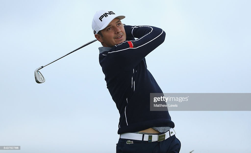 <a gi-track='captionPersonalityLinkClicked' href=/galleries/search?phrase=Julien+Quesne&family=editorial&specificpeople=2142965 ng-click='$event.stopPropagation()'>Julien Quesne</a> of France tees off during day one of the 100th Open de France at Le Golf National on June 30, 2016 in Paris, France.