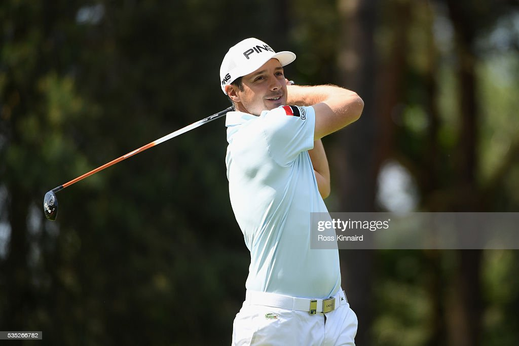 <a gi-track='captionPersonalityLinkClicked' href=/galleries/search?phrase=Julien+Quesne&family=editorial&specificpeople=2142965 ng-click='$event.stopPropagation()'>Julien Quesne</a> of France tees off on the 8th hole during day four of the BMW PGA Championship at Wentworth on May 29, 2016 in Virginia Water, England.