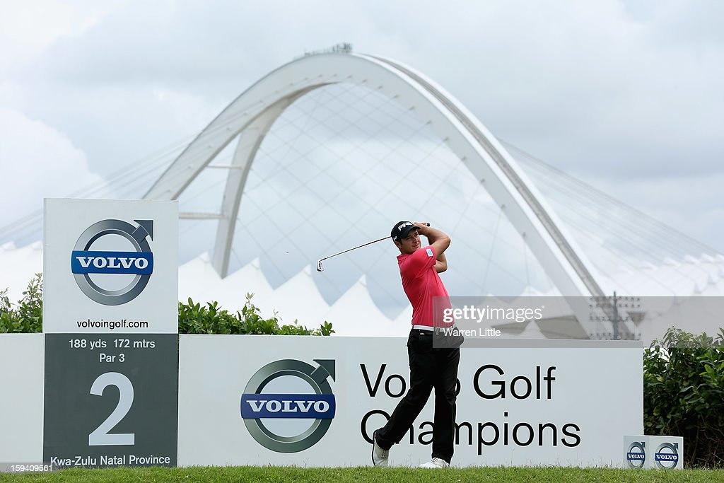 Julien Quesne of France tees off on the second hole during the final round of the Volvo Golf Champions at Durban Country Club on January 13, 2013 in Durban, South Africa.