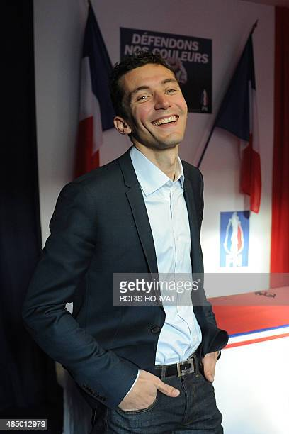 Julien Sanchez French farright Front National party candidate for the March 2014 municipal elections in Beaucaire poses in a newly inaugurated FN...