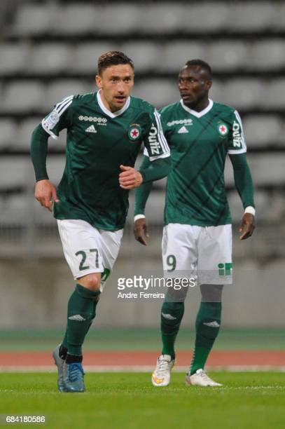 Julien Toudic of Red Star and Abdoulaye Sane of Red Star during the Ligue 2 match between Red Star and FC Sochaux Montbeliard at Stade Charlety on...
