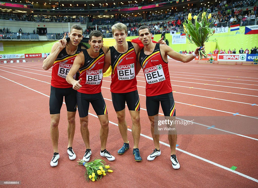 Julien Watrin Jonathan Borlee Dylan Borlee and Kevin Borlee of Belgium win gold in the Men's 4x400 metres Final during day three of the 2015 European...