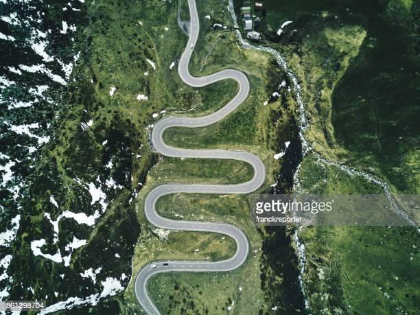 julier pass road in switzerland