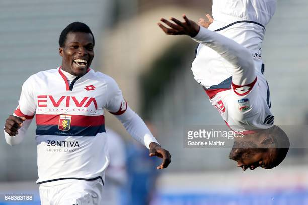 Julies Oliver Ntcham of Genoa CFC celebrates after scoring a goal during the Serie A match between Empoli FC and Genoa CFC at Stadio Carlo Castellani...
