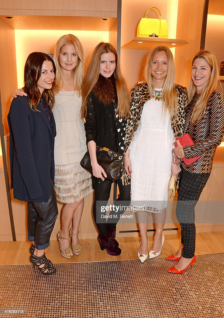 Juliet Angus, Marissa Montgomery, Katie Readman, Martha Ward and Rebecca Marks attend the Moynat London boutique opening on March 12, 2014 in London, England.