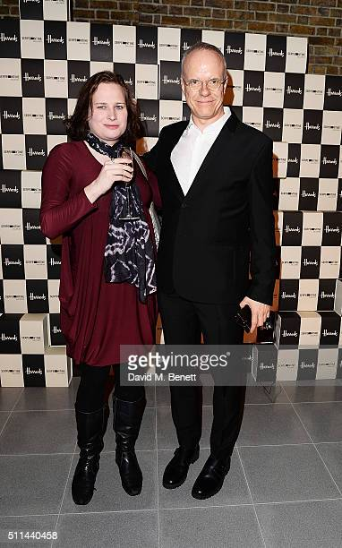 Juliet Jacques and Hans Ulrich Obrist attend the Serpentine Future Contemporaries x Harrods Party 2016 at The Serpentine Sackler Gallery on February...