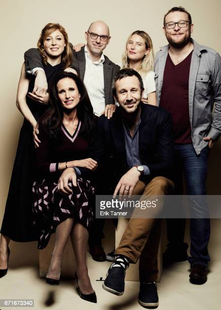 Juliet Rylance Andie MacDowell Russell Harbaugh Chris O'Dowd Dree Hemingway and James Adomian from 'Love After Love' pose at the 2017 Tribeca Film...