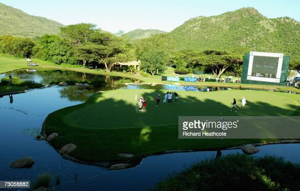 Julieta Granada and Celeste Troche of Paraguay celebrate as they seal victory on the 18th green during the third round of the Womens World Cup of...