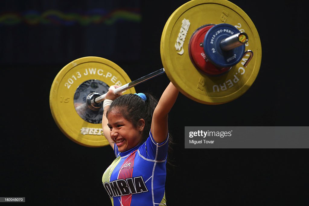 Julieth Palechor of Peru competes in women's 48 kg as part of the I ODESUR South American Youth Games at Coliseo Miguel Grau on September 27, 2013 in Lima, Peru.