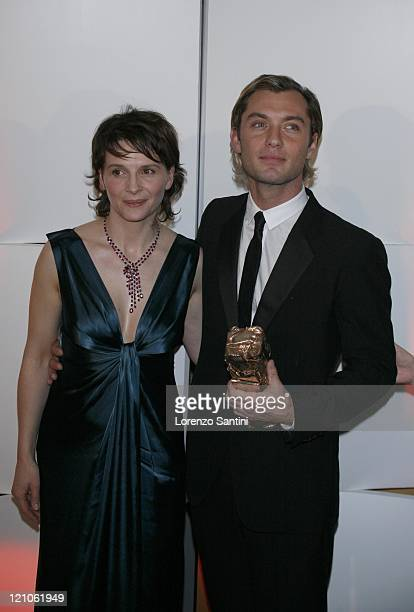 Juliette Binoche and Jude Law during 32nd Cesar Awards Ceremony Press Room at Theatre du Chatelet in Paris France
