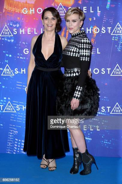 Juliette Binoche and Scarlett Johansson attend the Paris Premiere of the Paramount Pictures release 'Ghost In The Shell' at Le Grand Rex on March 21...