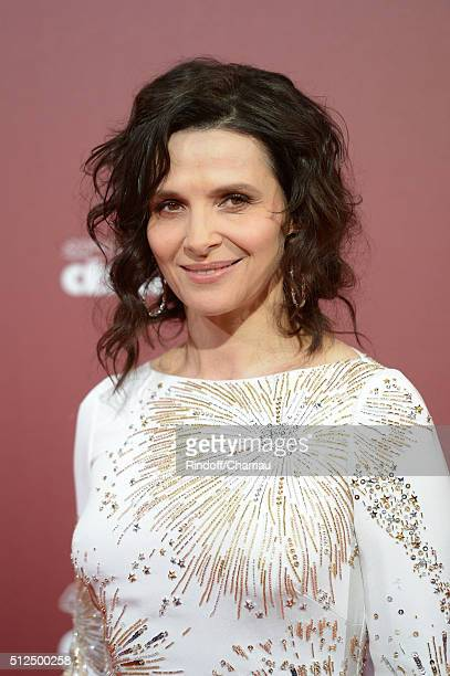 Juliette Binoche arrives at The Cesar Film Awards 2016 at Theatre du Chatelet on February 26 2016 in Paris France