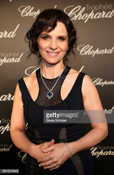 Juliette Binoche arrives at the Chopard Trophy Ceremony at the annual 69th Cannes Film Festival at Hotel Martinez on May 12 2016 in Cannes France