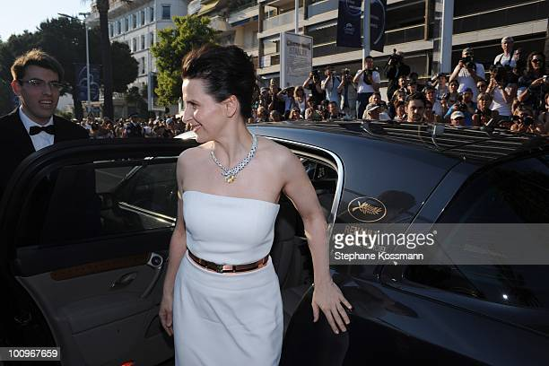 Juliette Binoche arrives at the Palais du Festivals during the 63rd Annual International Cannes Film Festival on May 23 2010 in Cannes France