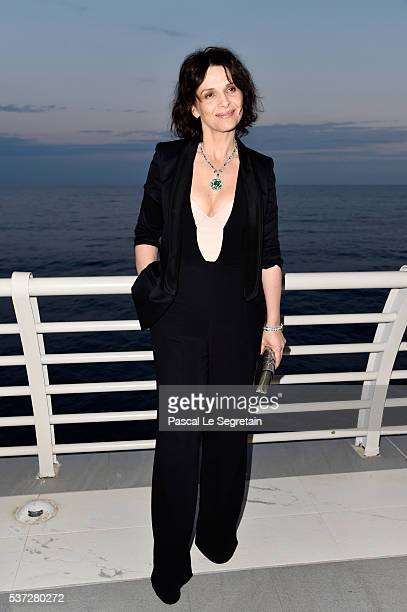 Juliette Binoche attends a BVLGARI press dinner during a fourday BVLGARI Brand Event on June 1 2016 in Monaco Monaco