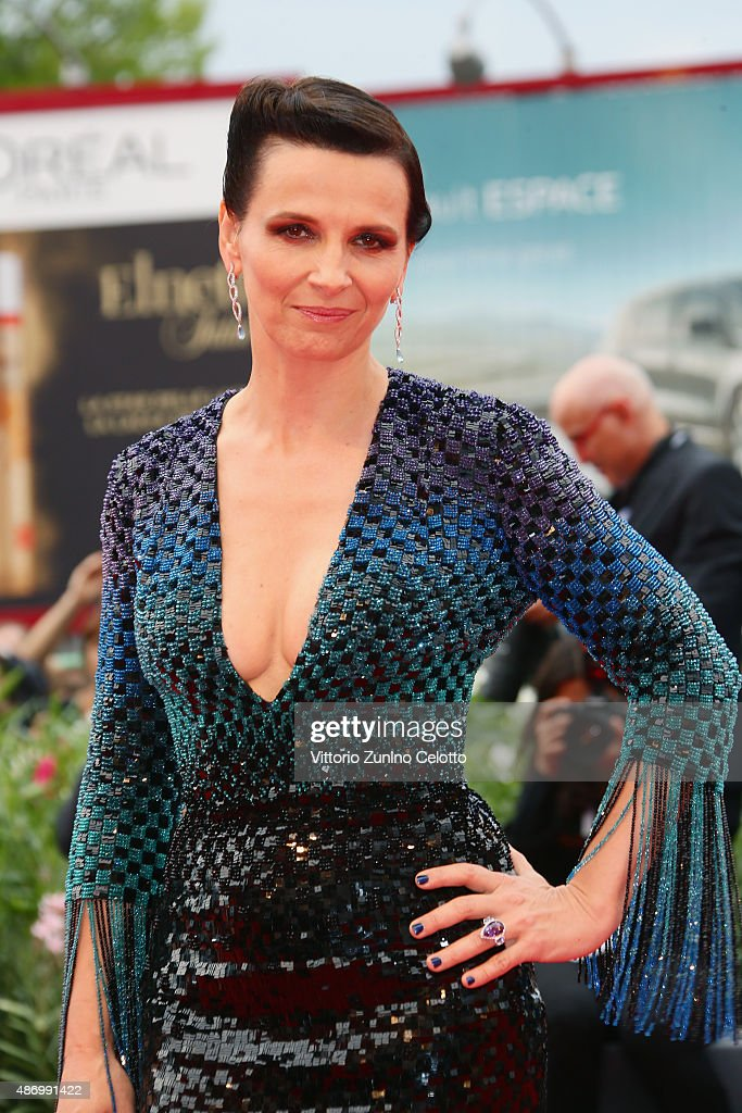 Juliette Binoche attends a premiere for 'The Wait' during the 72nd Venice Film Festival at Palazzo del Casino on September 5, 2015 in Venice, Italy.