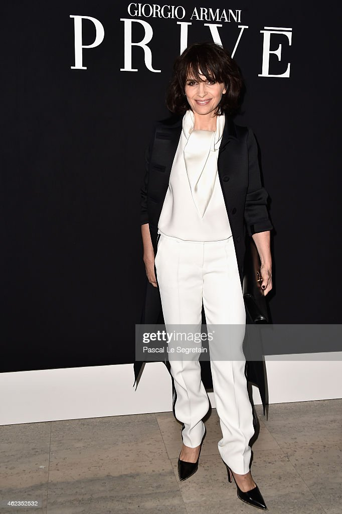 Juliette Binoche attends the Giorgio Armani Prive show as part of Paris Fashion Week Haute Couture Spring/Summer 2015 on January 27 2015 in Paris...