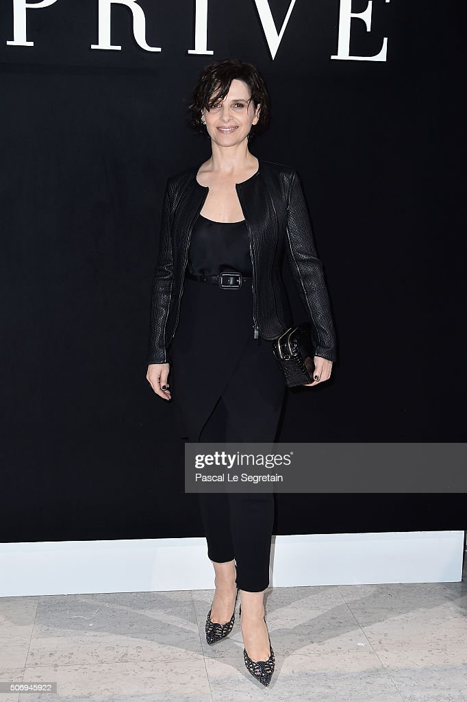 Juliette Binoche attends the Giorgio Armani Prive Spring Summer 2016 show as part of Paris Fashion Week on January 26 2016 in Paris France