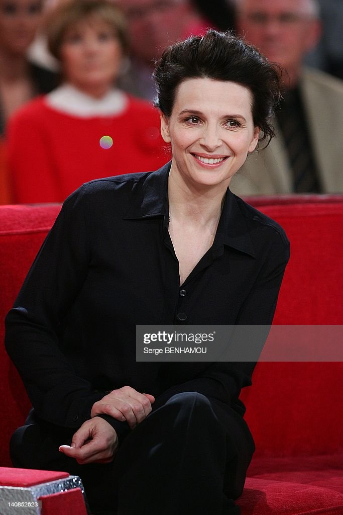 <a gi-track='captionPersonalityLinkClicked' href=/galleries/search?phrase=Juliette+Binoche&family=editorial&specificpeople=209273 ng-click='$event.stopPropagation()'>Juliette Binoche</a> attends Vivement Dimanche Tv show on February 1, 2012 in Paris, France.