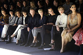 Juliette Binoche Ben Foster Robin Wright Roberta Armani Kristin Scott Thomas and Sonam Kapoor attend the Giorgio Armani Prive show as part of Paris...