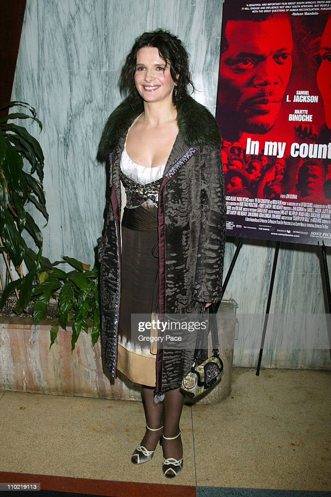 Juliette Binoche during 'In My Country' New York City Premiere Inside Arrivals at Beekman Theatre in New York City New York United States