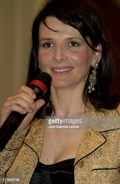 Juliette Binoche during Reporters Without Borders Star Photos Auction Sponsored by Juliette Binoche at InterContinental Hotel in Paris France