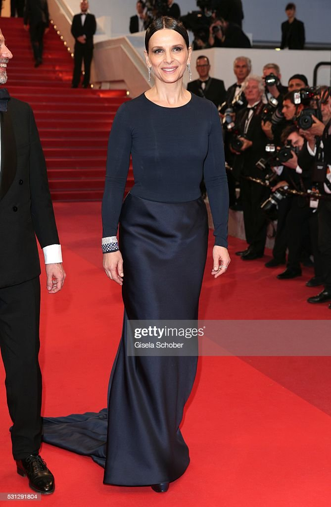 Juliette Binoche leaves the 'Slack Bay (Ma Loute)' premiere during the 69th annual Cannes Film Festival at the Palais des Festivals on May 13, 2016 in Cannes, France.
