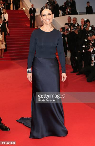 Juliette Binoche leaves the 'Slack Bay ' premiere during the 69th annual Cannes Film Festival at the Palais des Festivals on May 13 2016 in Cannes...