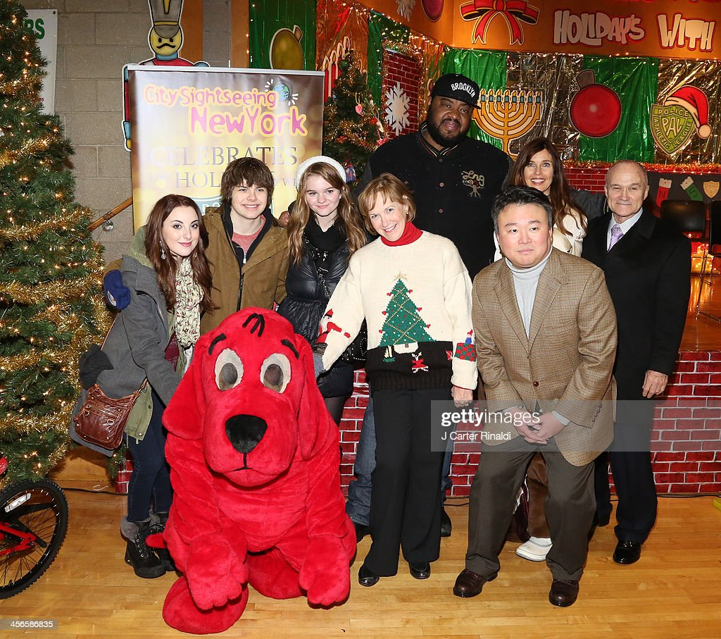 Juliette Goglia, Brendan Meyer, Kerris Dorsey, Alana Sweeny, Grizz Chapman, David W. Chien, Carol Alt, and Police Commissioner Raymond Kelly attend City Sightseeing New York 2013 holiday toy drive at PAL's Harlem Center on December 14, 2013 in New York City.