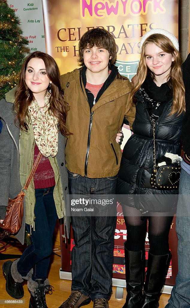 Juliette Goglia, Brenden Meyer and Kerris Dorsey attend the 2013 CitySightseeing New York holiday toy drive at PAL's Harlem Center on December 14, 2013 in New York City.