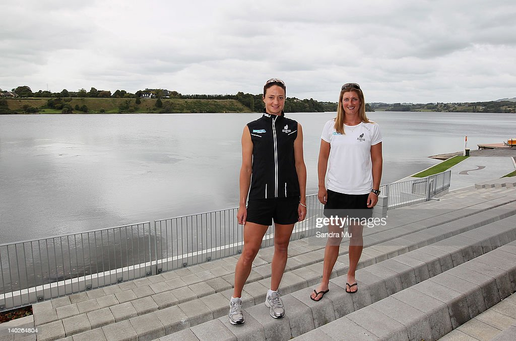 Juliette Haigh (L) and Rebecca Scown pose during a press conference to announce the New Zealand 2012 rowing team at Lake Karapiro on March 2, 2012 in Cambridge, New Zealand.