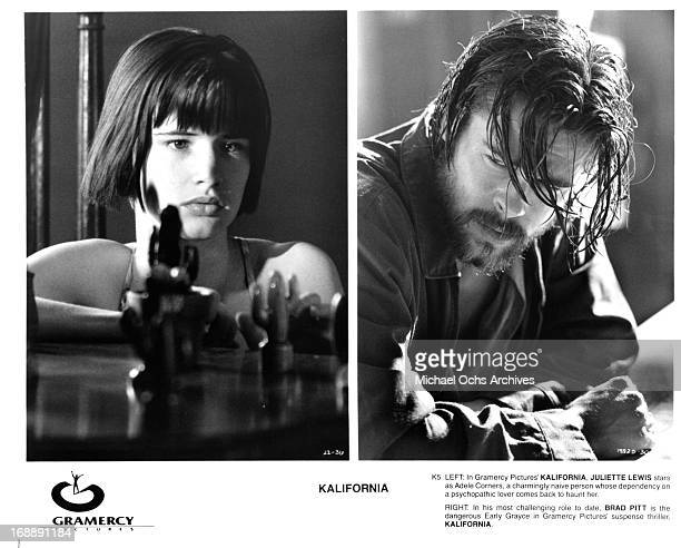 Juliette Lewis and Brad Pitt in various scenes from the film 'Kalifornia' 1993