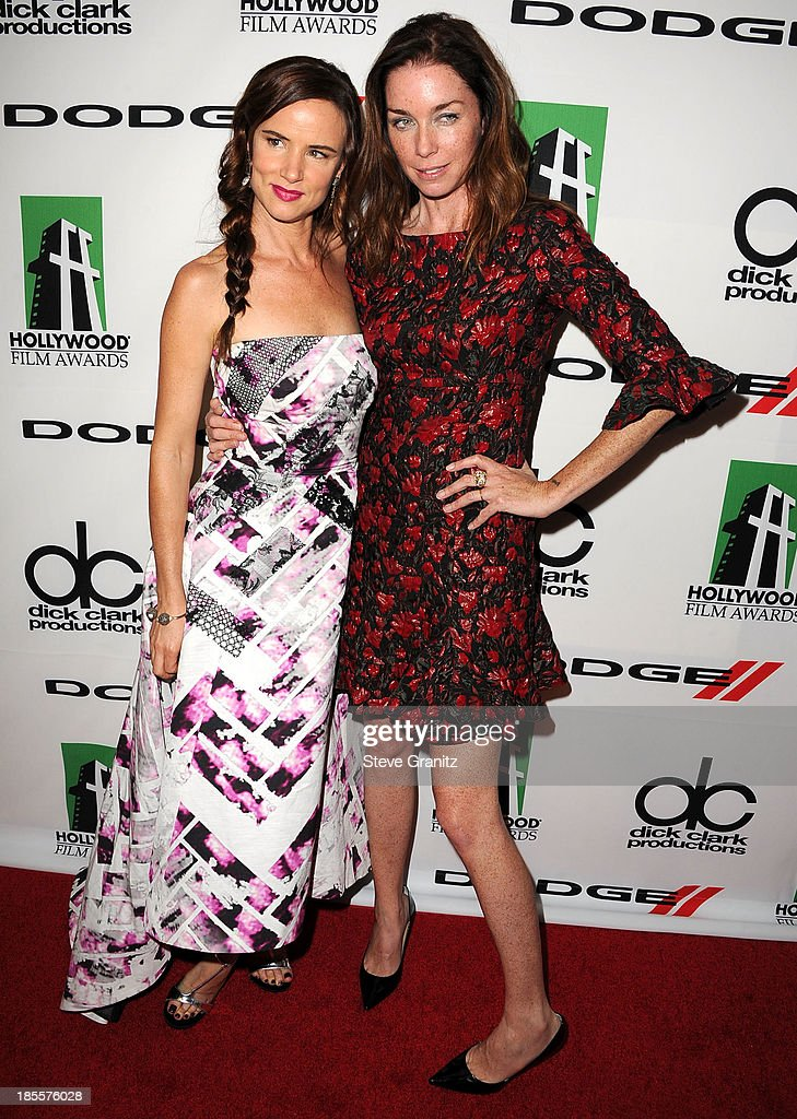 Juliette Lewis and Julianne Nicholson pose at the 17th Annual Hollywood Film Awards at The Beverly Hilton Hotel on October 21, 2013 in Beverly Hills, California.
