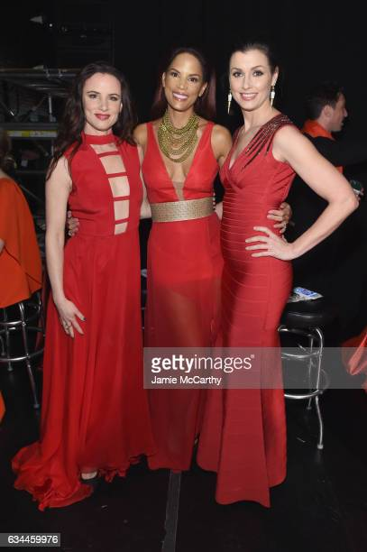 Juliette Lewis Veronica Webb and Bridget Moynahan attend the American Heart Association's Go Red For Women Red Dress Collection 2017 presented by...