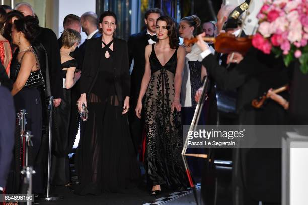 Juliette Maillot and Charlotte Casiraghi arrive at the Rose Ball 2017 To Benefit The Princess Grace Foundation at Sporting MonteCarlo on March 18...