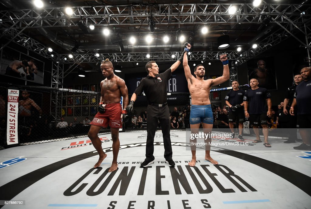 Julio Arce celebrates his TKO victory over Peter Petties in their featherweight bout during Dana White's Tuesday Night Contender Series at the TUF Gym on August 8, 2017 in Las Vegas, Nevada.
