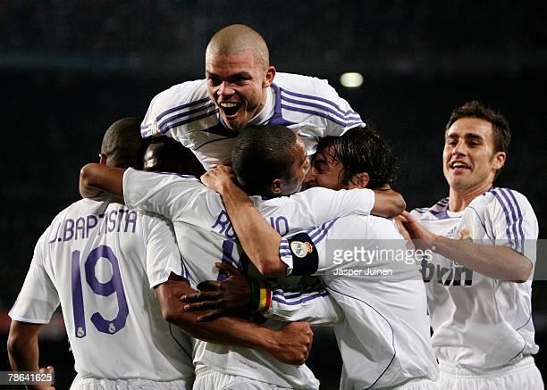Julio Baptista of Real Madrid celebrates his opening goal with his teammates Pepe Robinho Raul Gonzalez and Fabio Cannavaro during the La Liga match...