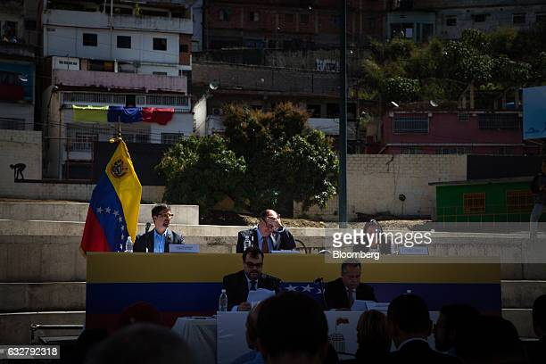 Julio Borges president of the National Assembly center back prepares to speak during a session of the National Assembly at the slum of Petare in...