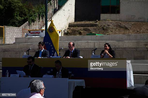 Julio Borges president of the National Assembly center prepares to speak during a session of the National Assembly at the slum of Petare in Caracas...