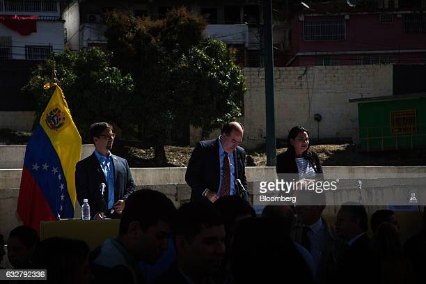 Julio Borges president of the National Assembly center speaks during a session of the National Assembly at the slum of Petare in Caracas Venezuela on...