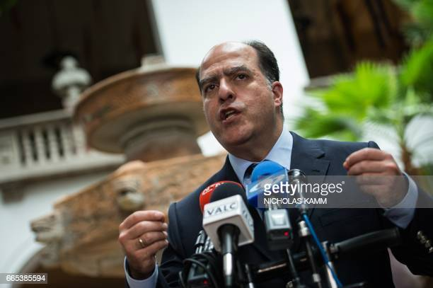 Julio Borges President of Venezuela's National Assembly speaks to the press after meeting with Organization of American States Secretary General Luis...