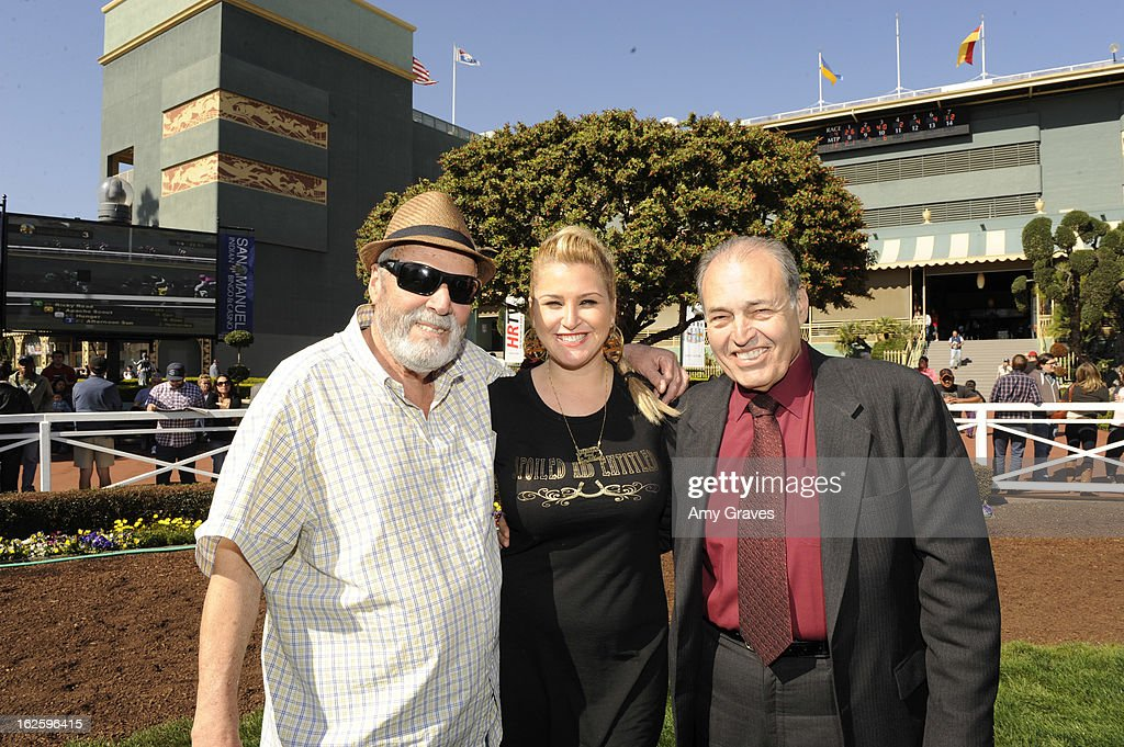 Julio Canani, Josie Goldberg and Phil Daniels attend Reality TV Personality Josie Goldberg and her race horse SpoiledandEntitled's race at Santa Anita Park on February 24, 2013 in Arcadia, California.