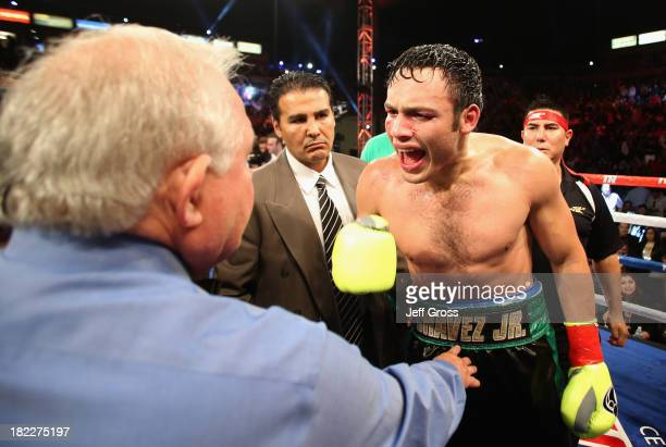 Julio Cesar Chavez Jr argues with referee Lou Moret at the conclusion of his Light Heavyweight bout against Brian Vera at StubHub Center on September...