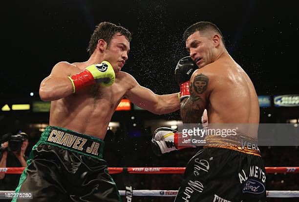 Julio Cesar Chavez Jr lands a left hand to the head of Brian Vera during their Light Heavyweight bout at StubHub Center on September 28 2013 in Los...